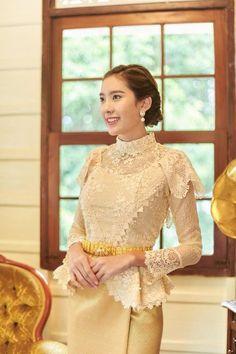 Items similar to Pikulraht Thai shirt stly( only shirt) on Etsy Dress Brukat, Thai Dress, Blouse Dress, Lace Dress, Traditional Dresses Designs, Traditional Wedding Dresses, Traditional Outfits, Kebaya Wedding, Thai Wedding Dress