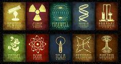 Cartazes minimalistas sobre as innvenções de cientistas.
