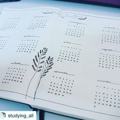 YEARLY: two pages layout für Bullet Journal