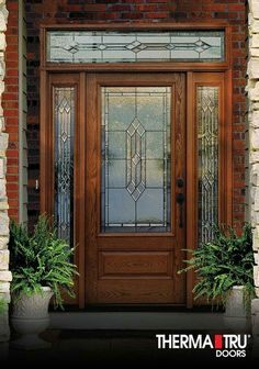 Therma-Tru Classic-Craft Oak Collection fiberglass door with Provincial decorative glass. With authentic warm wood graining, Classic-Craft Oak premium fiberglass entryways are designed to perfectly complement homes with Traditional styling. Door Sets, Front Door Design, Fiberglass Door, Fiberglass Exterior Doors, Exterior Doors With Glass, Front Entry Doors, Glass Door, Doors, Front Entry
