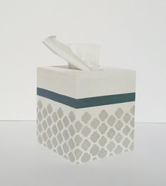 Tissue box cover Kleenex box coverBlue and Gray by CottageWall