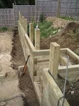 Image result for railway sleepers supporting wall