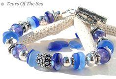 Cobalt And Cornflower Blue Sea Glass Bracelet