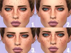 Time to set yourself apart from the rest and for you, 4 different styles of moles and freckles. Found in TSR Category 'Sims 4 Female Skin Details'