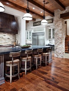 this is the most beautiful kitchen i've ever seen!! LUV it!!  - jaw-dropping kitchen; love the stone work, wood flooring and ceiling beams