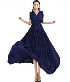 Trendy V Neck Sleeveless Waisted Women Maxi Dress Sapphire Blue