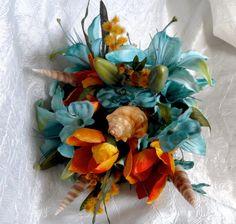 Beach wedding bridal bouquet with seashells, destination wedding, ocean blue and orange flowers, cholla wood handle. $98.00, via Etsy.