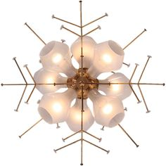 the Snowflake Fixture by Paavo Tynell Finland A brass snowflake ceiling fixture with eight translucent white glass shades. designed by Paavo Tynell made by TAITO OY Chandelier Pendant Lights, Modern Chandelier, Chandeliers, Vintage Furniture Design, Modern Furniture, Light Fittings, Light Fixtures, Ceiling Fixtures, Ceiling Lights