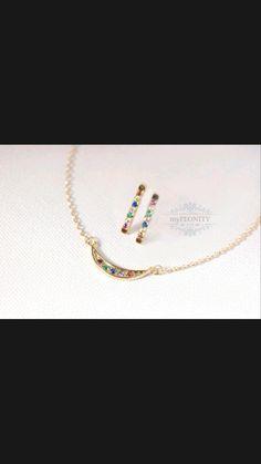 Dainty Jewelry, Fine Jewelry, Unique Jewelry, Rainbow Wedding, Ear Studs, Minimalist Jewelry, Rainbow Colors, Collars, Bracelets