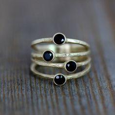 14k Yellow Gold Confetti Ring, Multi Stone Ring in Black Spinel and Rustic Finish Recycled Gold via Etsy, onegarnetgirl
