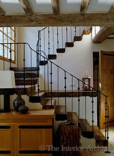 Country house in Provence - The staircase is constructed of local oak with a forged iron balustrade handcrafted in England
