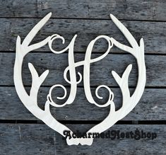 Deer Antler Monogram Holiday Wooden Monogram by ACharmedNest