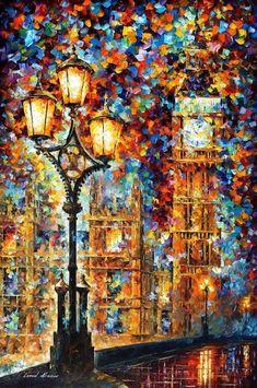 "London's Dream — United Kingdom Big Ben Wall Art Oil Painting On Canvas By Leonid Afremov. Size: 30"" X 40"" Inches (75 cm x 100 cm)"