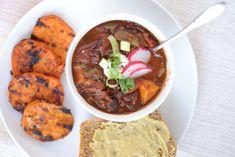 Vegetarian Sweet Potato Chili | CSA crops: sweet potato, garlic, radishes