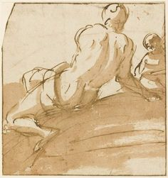 Luca Giordano, 1634-1705. Study of a nude.., pen and brown ink   Fitzwilliam Museum