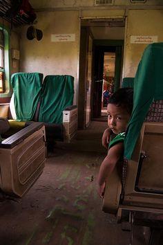 Boy on Burmese 'dancing train'