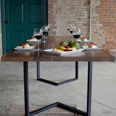 Custom Made Modern Walnut Dining Table With Black Steel Frame