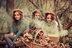 autumn, fairy tale, flowers, girls , outside