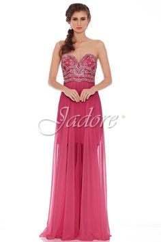 J6050 in Raspberry, with jeweled bodice and detachable neck jewellery for prom.  Available in sizes 2-30 www.jadoreevening.ca for a full listing of boutiques that carry our collections in Canada contact us directly for USA boutiques!