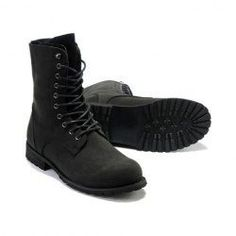 $25.35 Laconic Vintage Men's Boots With Solid Color High Top and Lace-Up Design