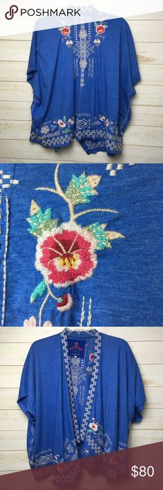 Johnny Was Blue Wrap Embroidered Cardigan XS Johnny was blue embroidered wrap cardigan. Sz XS. Johnny Was Sweaters Cardigans