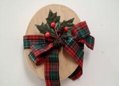 Vintage Christmas Box Holly Plaid Ribbon by vintageheartstrings, $9.50