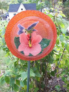 Hummingbird Glass Plate Flower - by Jeanne Kelly / Pink Picket Cottage - Recycled Repurposed Garden Art