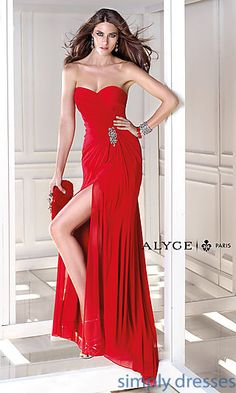 Strapless Side Slit Jersey Gown by Alyce AL-35718 at SimplyDresses.com