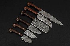 Chef Set of 6 PCS Custom Handmade Damascus Steel Chef Knife Rose Wood Handle Damascus Kitchen Knives, Damascus Steel Chef Knife, Forged Knife, Chef Knife Bags, Chef Knife Set, Knife Sets, Asian Kitchen, Chef Kitchen, Bushcraft Knives