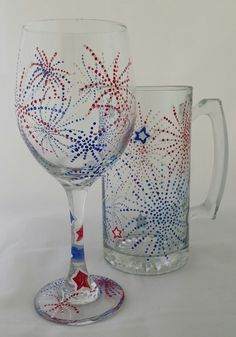 4th of July wine/mug glasses for a Paint Party!  Paint Party www.cricketseye.com