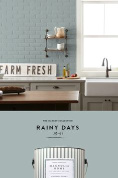 I love rainy days. I love the sound. I love the smell. When it's overcast, I light candles. Rainy Days put me in the mood to stay home on the couch and curl up with a good book. To me, this color… Interior Paint Colors, Paint Colors For Home, Interior Design, Indoor Paint Colors, Room Colors, House Colors, Home Renovation, Home Remodeling, Magnolia Homes Paint