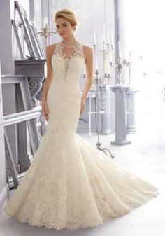 2683 Mori Lee Bridal Embroidered and Alencon Lace on Net, Detailed with Diamante Beading Wedding Dress   Morilee