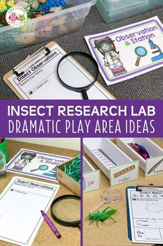 Find ideas to create an entomology lab dramatic play area set up.  Your kids will love playing and learning in an insect research lab dramatic play center.  Perfect for your insects and bugs theme, spring theme, summer theme, or garden theme in your preschool or pre-k classroom.  Many ideas for fun, hands-on learning activities and printables are included...perfect for early childhood play-based learning.  Math, science, literacy, STEM, and STEAM in one play center. Insect Activities, Fine Motor Activities For Kids, Steam Activities, Kindergarten Science, Dramatic Play Area, Dramatic Play Centers, Preschool Garden, Preschool Centers, Montessori Sensorial