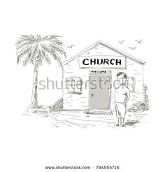 Cartoon style illustration of a skinny shirtless Samoan boy wearing lavalava standing by, beside or in front of church with coconut tree behind. Cartoon Styles, Retro Fashion, Buildings, Royalty Free Stock Photos, Coconut, Skinny, Illustration, Pictures, Image