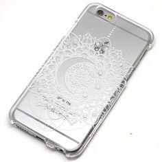 White Swarovski Rhinestone Crescent Moon Mandala Henna Clear Case iPhone 6, 6 Plus, 5, 5C, 5S, Galaxy S4, S5, Note 4