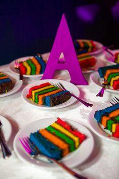 Rainbow layer wedding cake