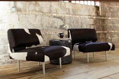 Salt & Pepper hair on hide chairs with Galapagos cylinder by Tiger Leather #furniture #decor #modern #creative #luxury #decor #interior #design