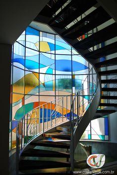 Vitral residencial abstrato com vidros coloridos importados | Vitral colorido - Stained glass