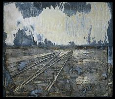 These railroad images, another theme, are Nazi references. Kiefer has been trying for his whole career to get his fellow Germans to think about Nazism and their part in its crimes; his first works that attracted any attention were photographs of himself giving the Nazi salute in front of public buildings in Germany. Above, Lot's Wife, 1989.
