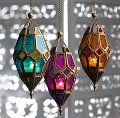 Moroccan style hanging glass lantern - amber purple green hippy boho candle in Home, Furniture & DIY, Home Decor, Candle & Tea Light Holders | eBay