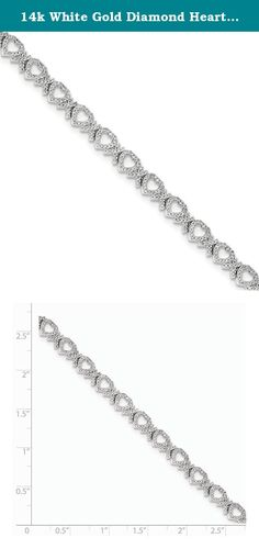 14k White Gold Diamond Hearts Bracelet. Attributes Polished 14K White gold Diamond Box catch A quality Product Description Material: Primary - Purity:14K Finish:Polished Stone Type 1:Diamond Stone Quantity 1:502 Plating:Rhodium Stone Setting 1:Micro Pavâ Stone Weight 1:1.01 ct Stone Clarity 1:I2 (A) Clasp /Connector:Box Catch Material: Primary:Gold Stone Shape 1:Round Stone Size 1:0.73 mm Stone Treatment 1:Heating Product Type:Jewelry Jewelry Type:Bracelets Bracelet Type:Diamonds…