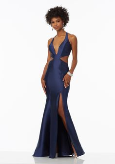 Prom Dresses by Morilee designed by Madeline Gardner. Satin Prom Dress Features Deep-V Neckline and Cut-Out Sides Back and Skirt Trimmed in Covered Button Detail