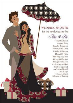 Desi Umbrella Indian Bridal Shower Invitations by #Soulfulmoon
