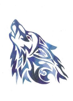Color wolf tattoo design. -with different colors for me