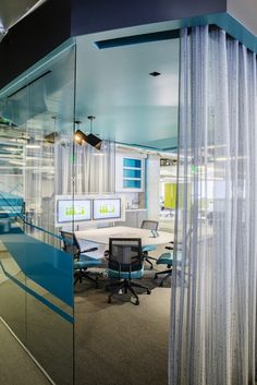 """Check out these convertible huddle rooms with retractable """"walls""""-"""