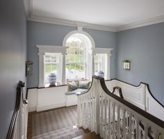 Great colors with dark wood trim- elegant and serene Stair landing with tripartite picture window by Ferguson and Shamamian in Westport, Connecticut. Cozy Nook, Cozy Corner, Beautiful Interiors, Beautiful Homes, Beautiful Stairs, Dark Wood Trim, Entry Stairs, Interior And Exterior, Interior Design