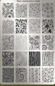 Organic black and white zentangle patterns in a 4 by 5 grid, featuring flowers, . - Organic black and white zentangle patterns in a 4 by 5 grid, featuring flowers, leaves and other na - Doodle Art Drawing, Zentangle Drawings, Zentangle Patterns, Drawing Tips, Zen Doodle Patterns, Zentangle Art Ideas, Doodles Zentangles, Easy Zentangle, Drawing Ideas