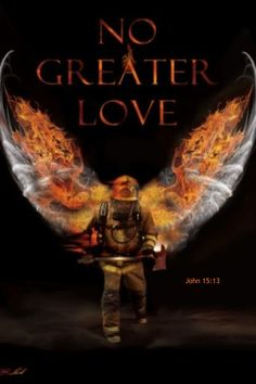 No Greater Love Fireman Angel Wing Framed Art Print Picture by Jason Bullard shared by NYC Firestore.my nephew Jeremy was a fireman and now is an ANGEL watching over his two young daughters! Firefighter Family, Firefighter Paramedic, Wildland Firefighter, Firefighter Quotes, Volunteer Firefighter, Firefighter Tattoos, Firefighter Decor, Female Firefighter, Firefighter Images