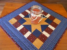 Quilted Table Topper Country Colors/Wall Quilt Star Pattern with gold, blue, green,red by RubysQuiltShop on Etsy
