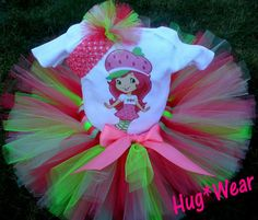 Custom Strawberry Shortcake Girl Birthday Tutu 69m 12m by HugWear, $39.95